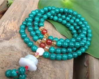 "Delicate Tibetan 108 4mm Malachite Gemstone Buddhist Yoga Meditation Jade Guru Prayer Beads Mala Necklace -18"""