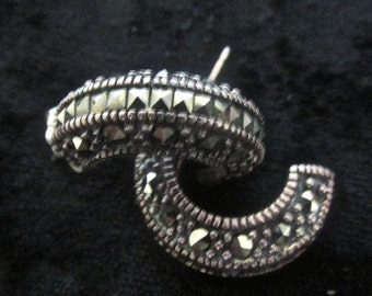 Gorgeous retro marcasite and sterling silver demi-hoop earrings  3/4'' L  1/8'' W  6.9 GMS