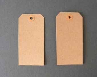 "75 Kraft Tags,  4 3/4"" x 2 3/8""  Brown Kraft Tags, Parcel Tags, Hang Tags, Kraft Reinforced Holes, Shipping Tag, Gift wrapping, Scrapbooking"