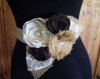 Burlap Wedding Dress Sash Burlap Bridal Sash Wedding Belt Brown Ivory Bridesmaid Sash Flower Girl Rustic Barn Vintage Wedding, Custom Colors