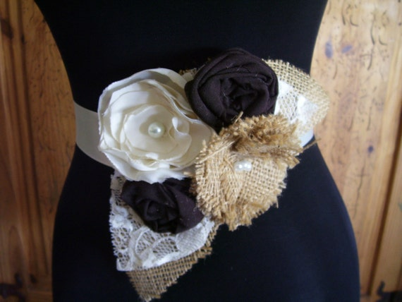 Burlap Wedding Dress Sash Burlap Bridal Sash Wedding Belt