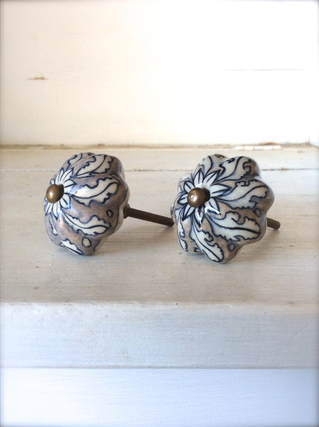 Decorative ceramic knobs cabinet knobs drawer by honeywoodhome for Painted ceramic cabinet knobs