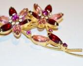 On Sale Now * Vintage Pink Rhinestone Flowers Brooch / Pin * Costume Jewelry* Vtg Rhinestones