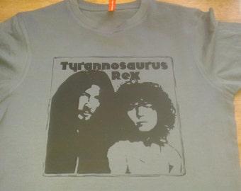 Tyrannosaurus Rex Marc Bolan T Rex Printed T-shirt Top Album Vinyl 60s 70s Vintage Style Tour Glam Rock