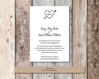 Engagement Invitations 'Love Heart Design'