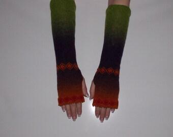 KAUNI Women Knit Hand Warmers  with ornaments, Fingerless Gloves, Knitted FAIRISLE Mittens.