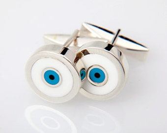 Greek Evil Eye Cufflinks with 975 Silver, Turquoise and White Enamel