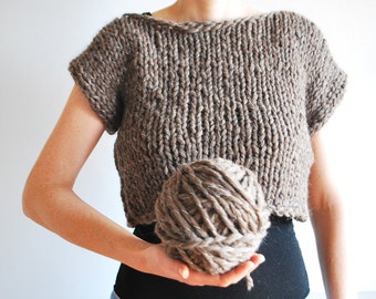 Chunky Crop Top /  Sweater / Hand Knitted / Untreated Wool / Otter Brown