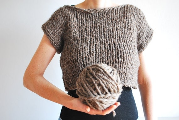 Chunky Crop Top Sweater / Hand Knitted / Untreated Wool / Otter Brown