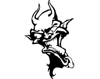 Devil Demon Decal sticker wall art car graphics room decor emo goth gothic metal AA66
