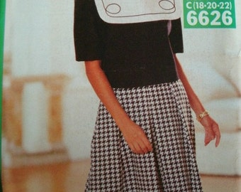 Misses Misses Petite Top and Split Skirt Size 18-20-22 See & Sew by Butterick Pattern 6626 Vintage 1993 UNCUT Pattern Rated Very EASY to Sew