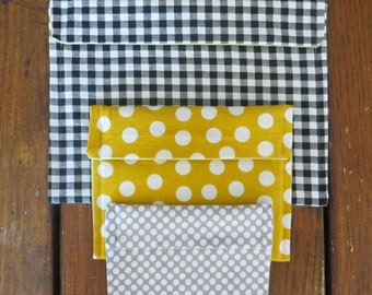 You Pick Set of 3 100% Cotton Reusable Fold-Over Snack Bags
