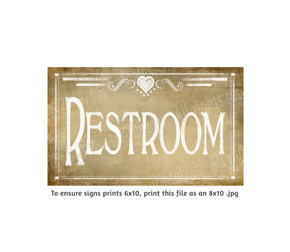 Bathroom Signs Printable Free: Items Similar To Vintage Chalkboard Style RESTROOM