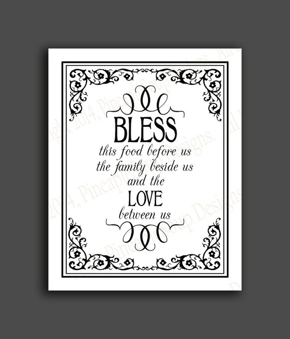 Bless This Food Before Us Blessing Wedding Sign Instant