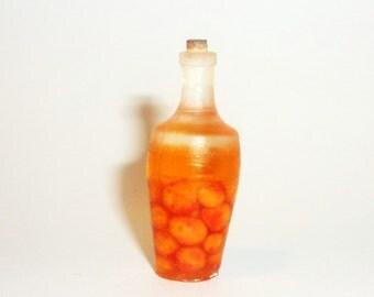 Dollhouse miniature 1:12 peach,Bank with peaches,peach juice,peach liqueur, juice bottle,juice,rustic drink