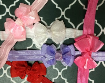 Grosgrain and Chiffon Bow Headband - Small