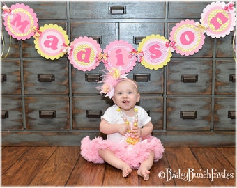 You are my Sunshine Banner / Pink, Yellow Chevron Birthday Name Banner - Deluxe XL Party Banner