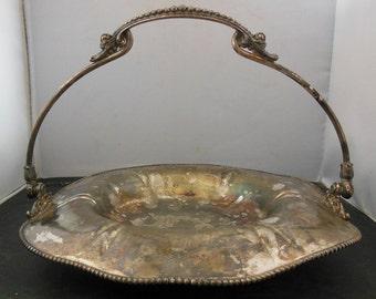 Antique VL Quadruple Silver Plate Brides Basket