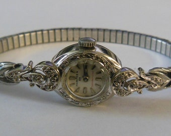 Vintage Hampden 10k Gold Diamond Watch 25 Jewel