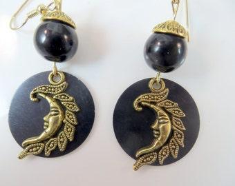 Midnight moon earrings
