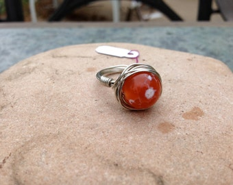 Fire Agate Stone Ring