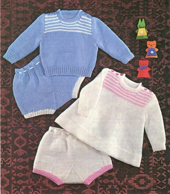 Instant KNITTING Pattern Baby Jumper Angel Top Pants 3