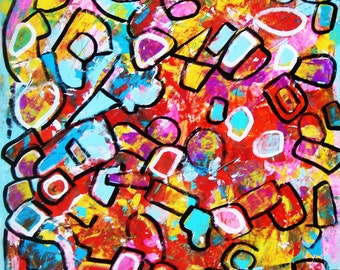 """Original modern abstract painting contemporary art decor 28"""" by MARTLEQUIN number 534"""