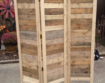 """Handmade Primitive Room Divider / Movable Wall / Screen made from Antique Looking Wood - 5' 10"""" Tall with Three Panels - Beautiful!"""
