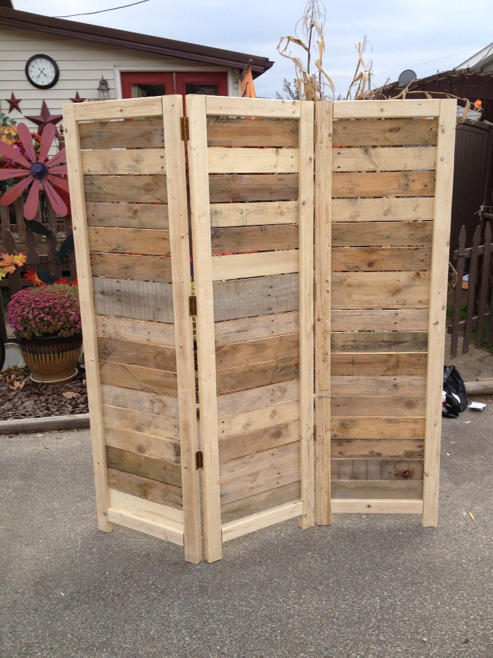 Handmade primitive room divider movable wall screen made for Wood pallet privacy walls