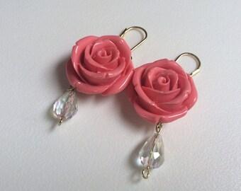 CLEARANCE SALE:  Pink Rose Crystal Drop Statement Earrings, Hypoallergenic, Flower Earrings, Trending Items, Women's Jewelry