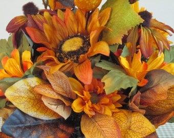 Centerpiece, Brown, Orange,  Mums, Blackeyed Susans, Sunflower, Gourd, Fall Flowers, Leaves, Autumn Flower Arrangement, Fall Centerpiece