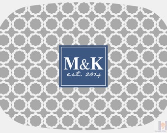 Modern gray & blue quatrefoil flower monogrammed platter or tray.  The perfect gift- entertain with style! Dishwasher safe! Custom colors!!