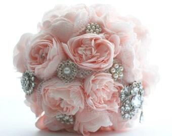 Brooch bridal bouquet, pink peonies, silver rhinestone brooches, blush pink, foam flowers