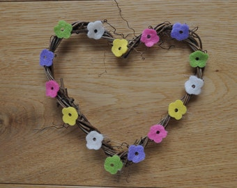 Natural Twine Heart Wreath 15 x 15cm With Felt Flowers In Easter Spring Colours - Folksy Shabby Chic Style- Pink, Yellow, White, Lilac Green