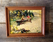 Vintage Paint By Number Two Fishermen in a Paddle Boat