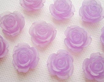 6 Large Frosted Purple Resin Rose Cabochons.