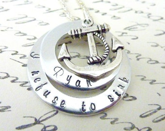 Inspirational Anchor necklace I refuse to sink Necklace Hand stamped Personalized jewelry