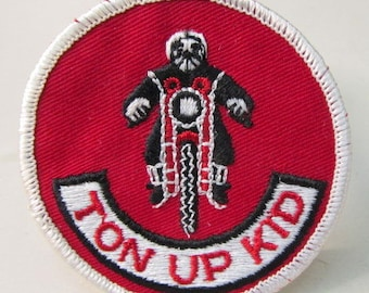 TON UP KID 100 mph  motorcycle  jacket or shirt patch.  embroidered cloth