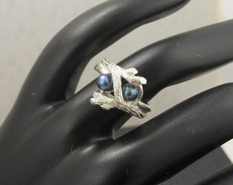 Sterling Silver Black Pearl Ring. Lost Wax Casting