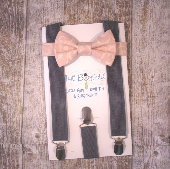 Blush Bow Tie And Suspenders Pink Paisley Bow Tie With Grey