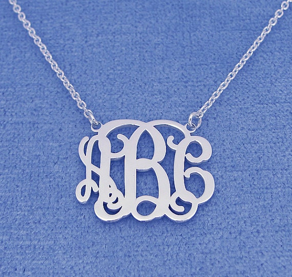 """Silver Monogram Necklace 1""""- Personalized Monogram - 925 Sterling silver"""