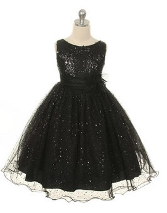 Flower Girl Dress Christmas Dress  Black Sequin Double Mesh Flower Girl Dress