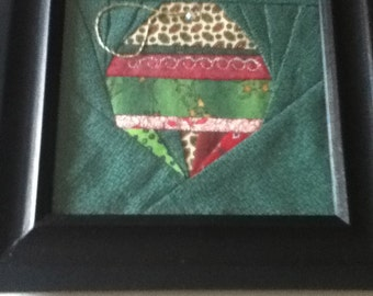 Quilted Christmas Ornament, Framed