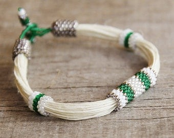 Linen string bracelet - organic bracelet beadwork - beaded seed beads jewelry - ready to ship - mother's day - green -original design