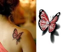 Beautiful 3D red and black butterfly temporary tattoo tattoo stickers transfer tattoo body tattoo