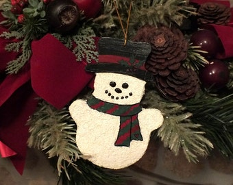 Christmas Snowman Ornament on Hand Painted Wood