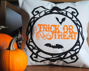 A Trick or Treat pillow cover with fun Spider frame! Halloween decor, Country decor, Halloween pillow cover, fall decor, Bats and Spiders.