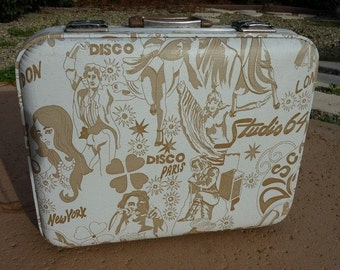 FINAL MARKDOWN 1970s 70s Vintage DISCO Luggage Suitcase