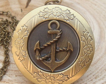 Antique Brass Anchor Locket Necklace Victorian Jewelry Gift Vintage Style