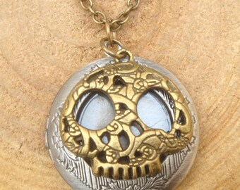Silver Skull Locket Necklace Victorian Jewelry Gift Vintage Style